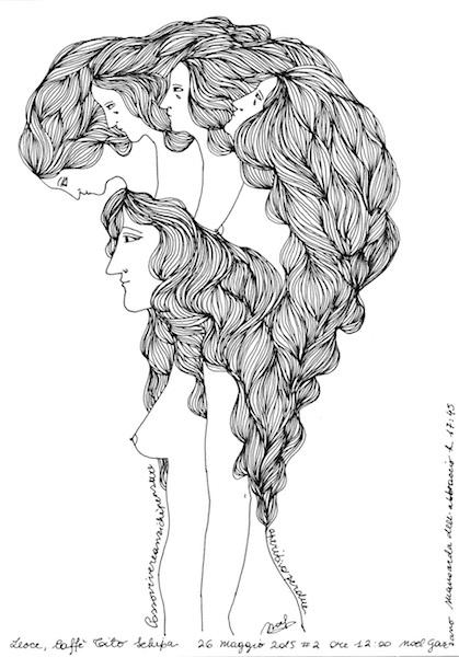 Noel Gazzano (2015) PossoVivereAnzichéPensare (ICanLiveRatherThanThink). Ink on paper.