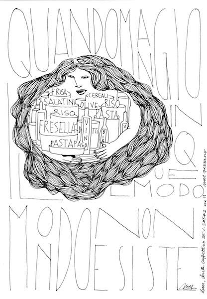 Noel Gazzano (2015) IlMondoNonEsiste (TheWorldDoesn'tExist). Ink on paper.