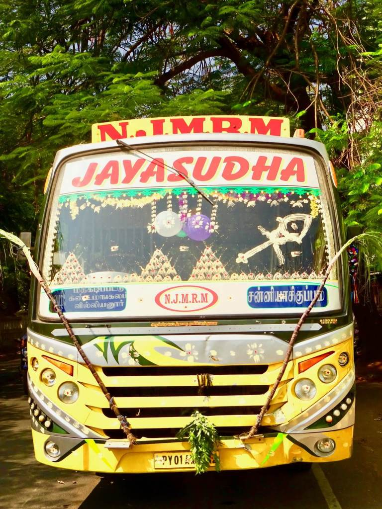 bus in Pondicherry at Pongal smaller travel footprint