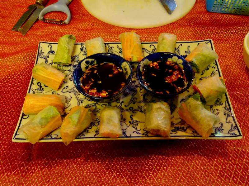 fresh spring rolls cooking class at the peace cafe