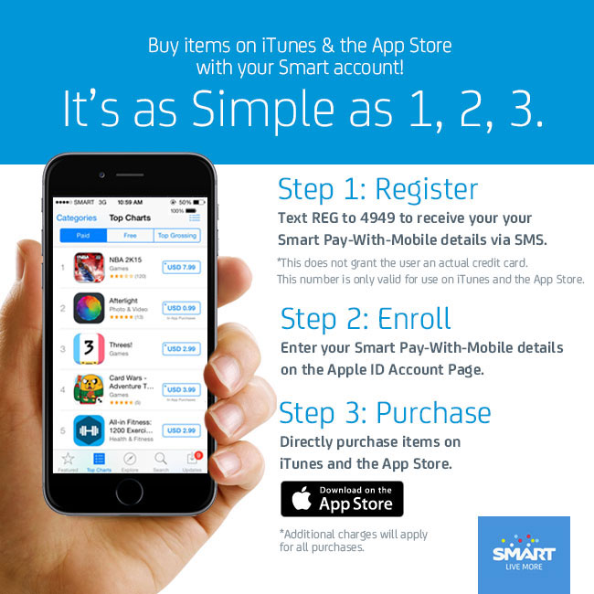 Smart's Pay-With-Mobile service allows you to Pay Apps even without