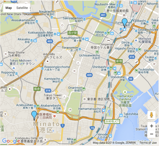 map to ginza japan