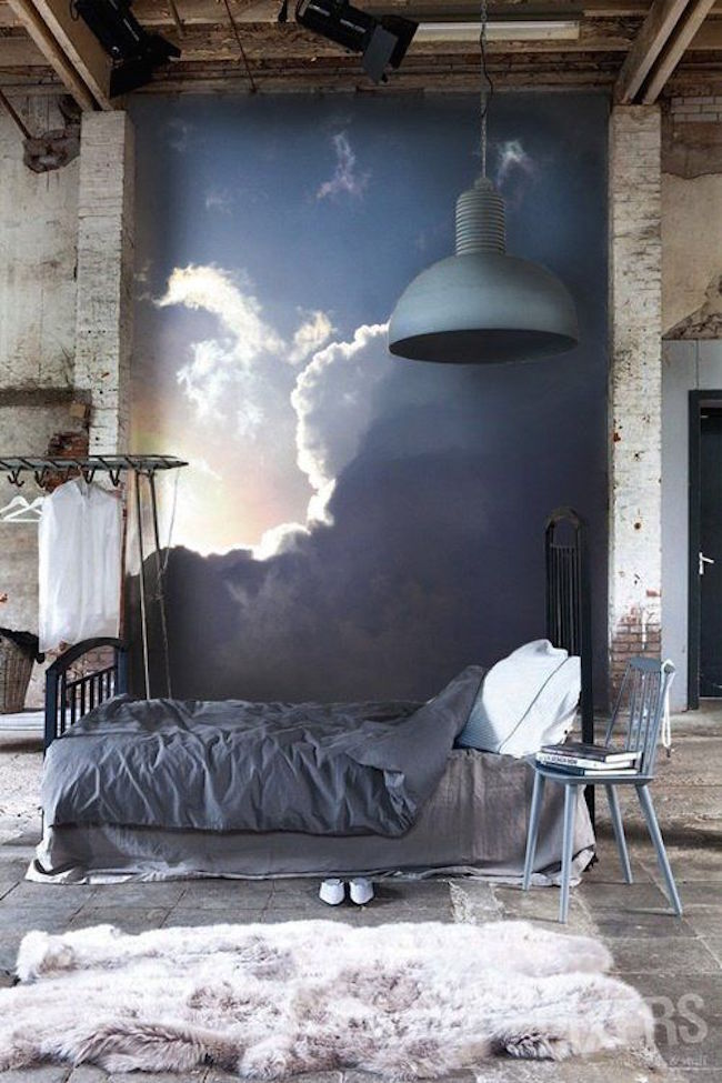 Urban Bedroom With A Cloud Mural