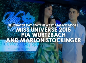 Welcoming Miss Universe 2015 Pia Wurtzbach and Marlon Stockinger as the newest ambassadors of BlueWater Day Spa