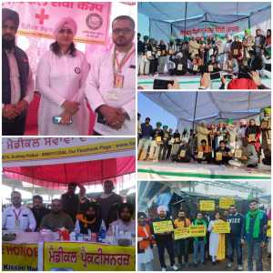 "On the stage at Tikri Border, Supreme Court lawyers and ""Samyukta Kisan Morcha Delhi""  (India) honored the office bearers of various states"