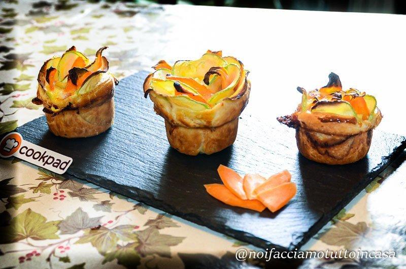 rose di sfoglia con zucchine carote e latteria