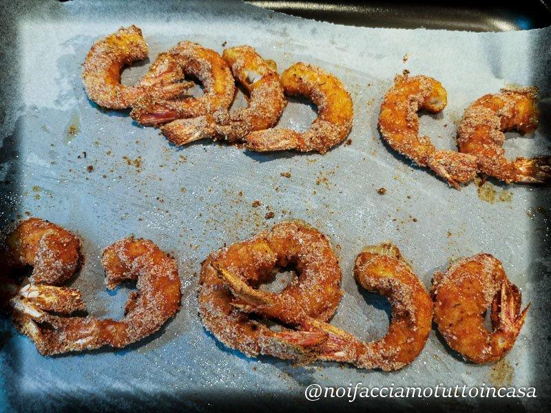 Gamberoni Croccanti con verdure al forno-