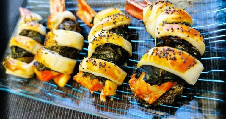 Gamberoni in Crosta di Pasta Sfoglia con Cima di Rapa
