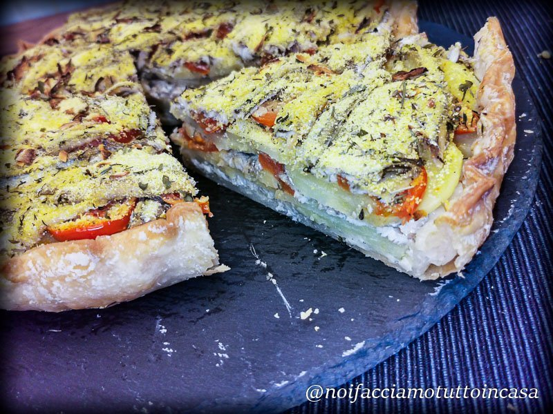 tortino di alici patate e pomodorini