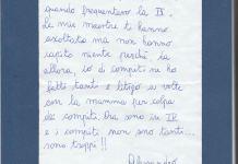 Lettera di un bambino di quarta elementare