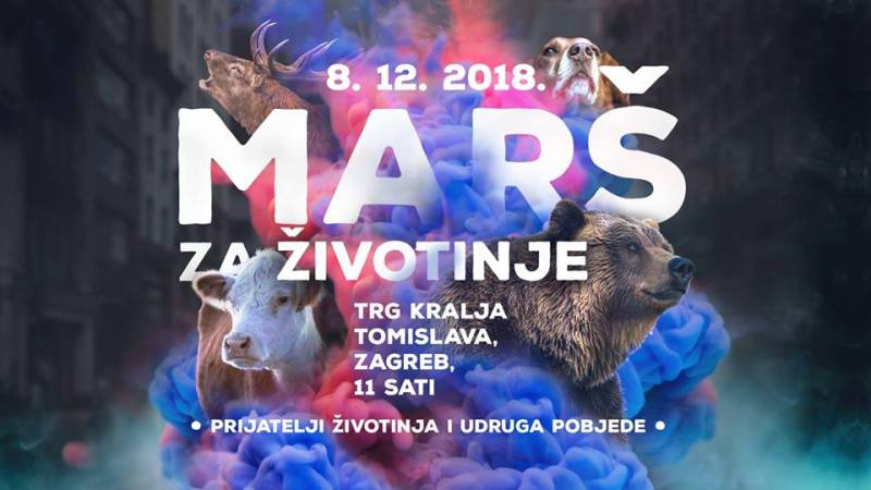 MARŠ ZA ŽIVOTINJE - Zagreb, subota 08.12.2018. u 11 sati