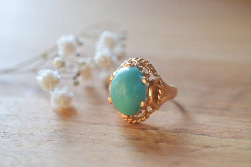 Bague turquoise, ancienne, or 18 carats