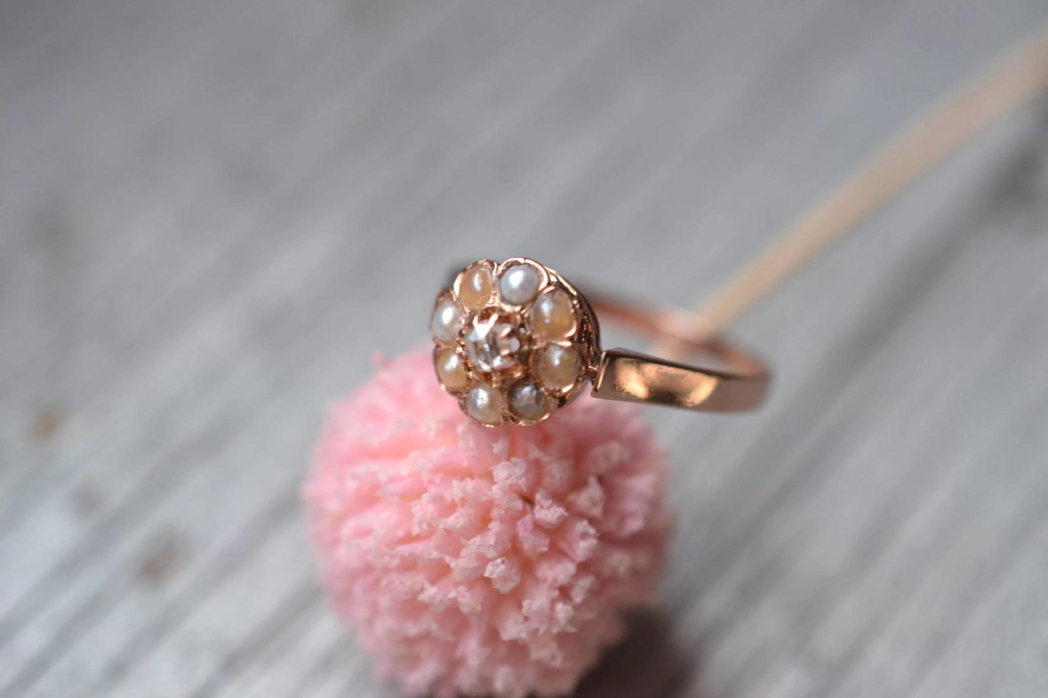 Bague Diamant Et Perles