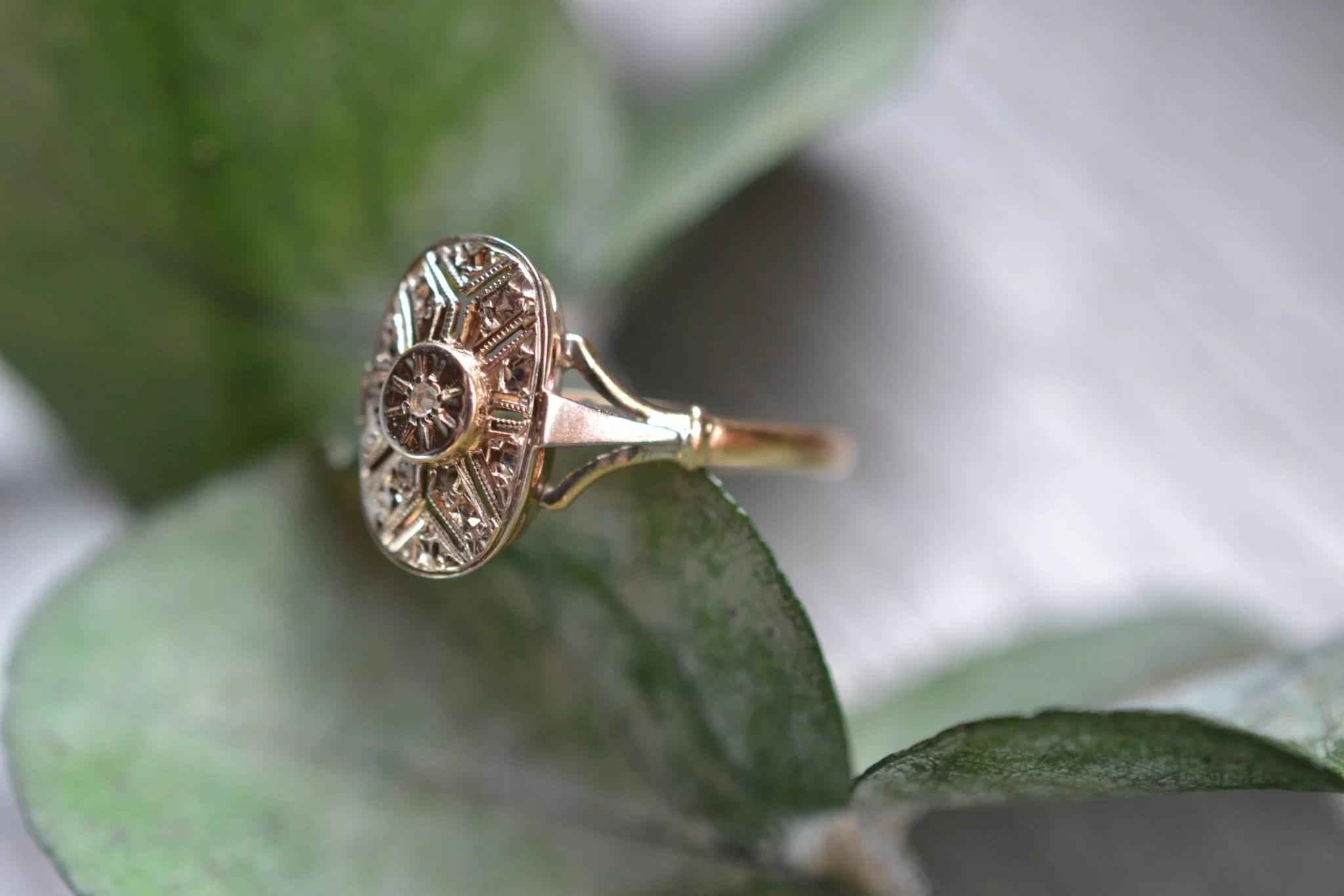 Bague Art Déco Or Gris Et Diamant - Bijou Ancien Vintage Mariage Fiançailles Occasion