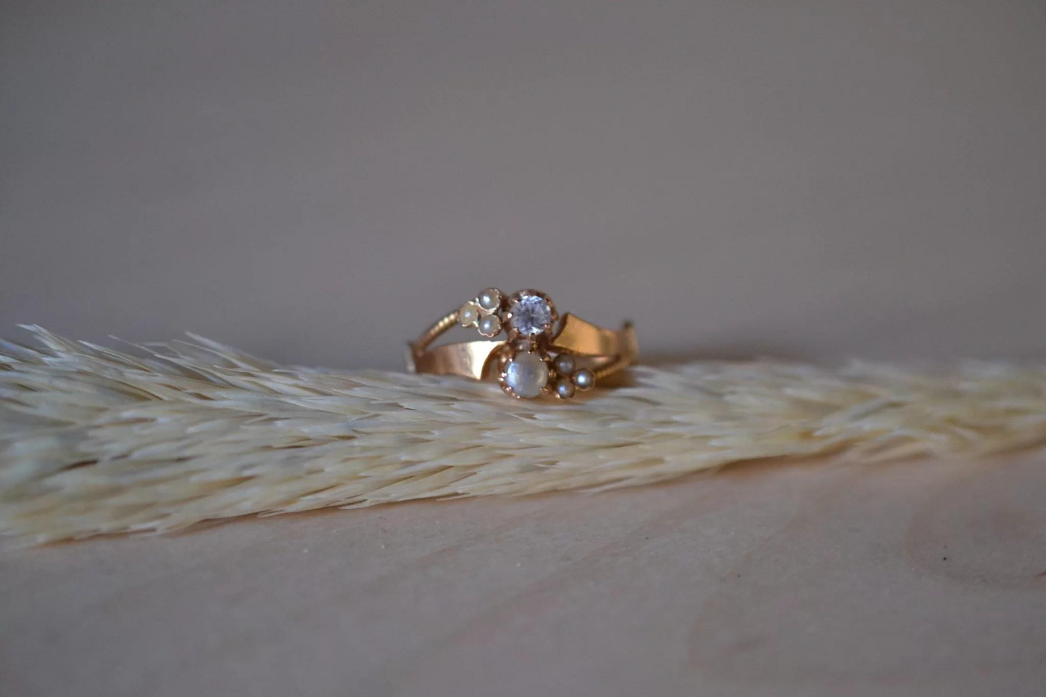 Bague Ancienne Perle Et Diamant - 18 Carats - 750:1000 - Bague Fiançaille Vintage