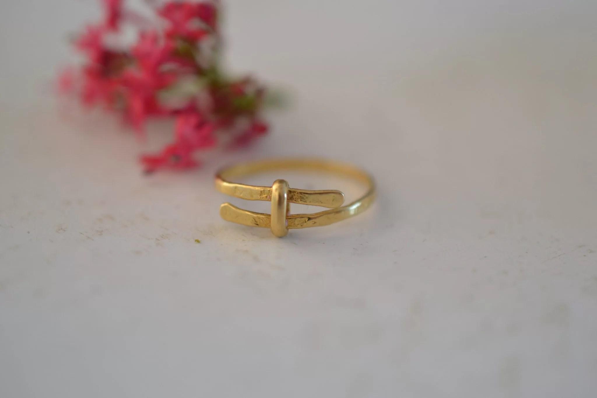 bague martlée en or - Bijou vintage certifé - 18 carats 750:1000 - bijoux durables