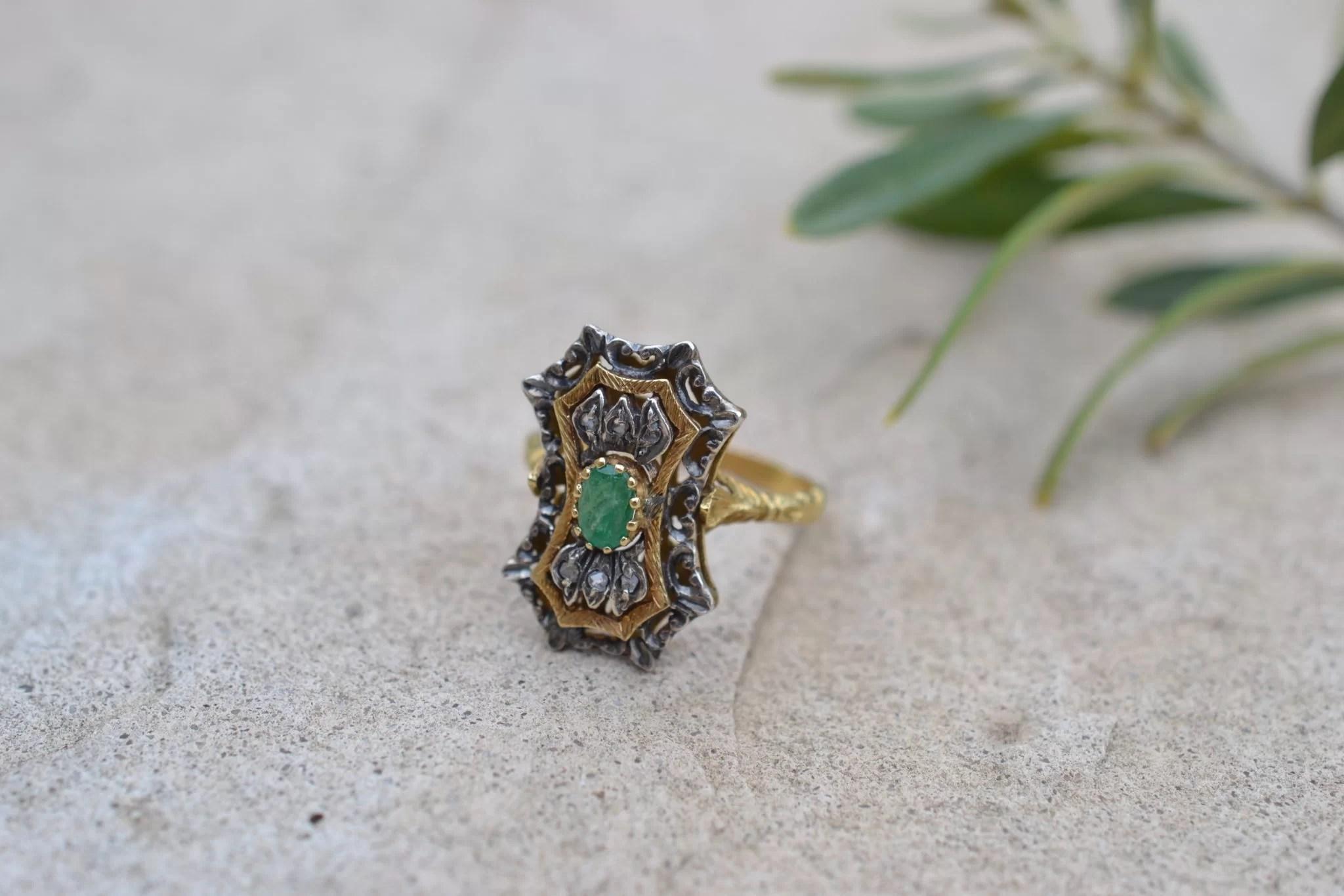 bague ancienne emeraude et diamants - en Or jaune 18 carats - bijoux bohèmes chics