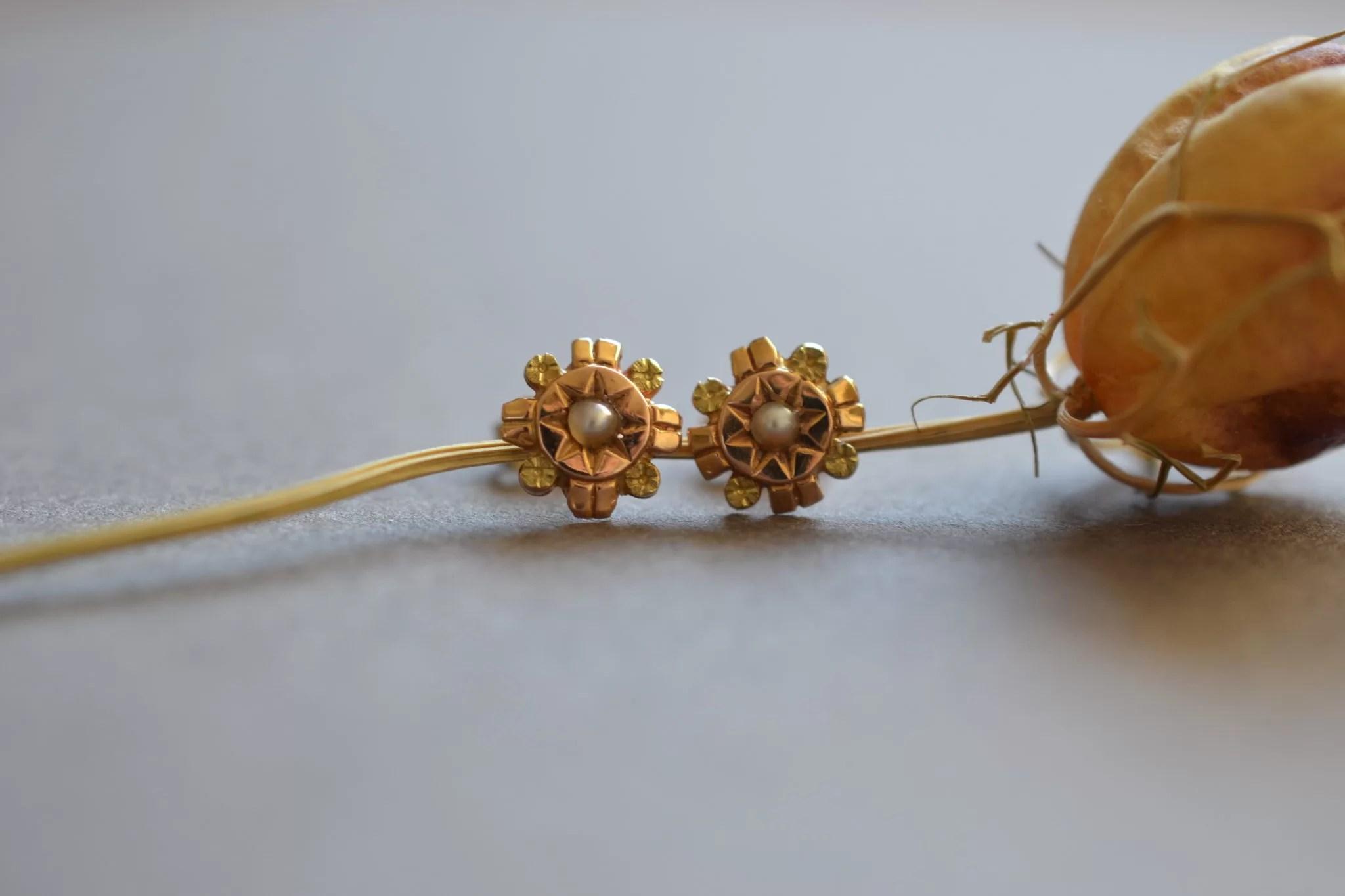 puces d'oreilles anciennes en Or avec perles - boucles d'oreilles ancienne mariage - bijoux ecoresponsables