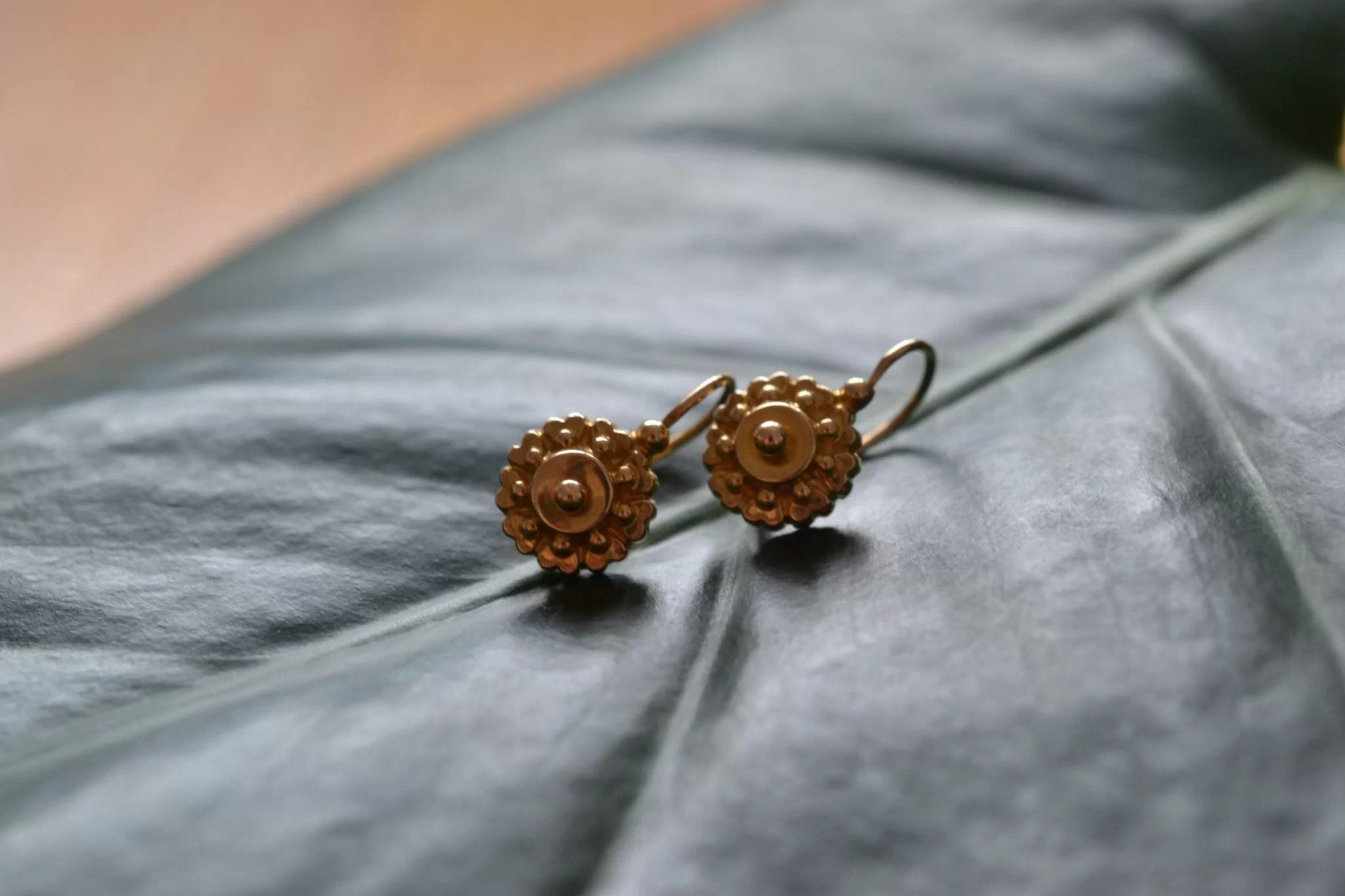 Boucles D'oreilles Anciennes En Or - Bijoux Mariage Zéro Déchet