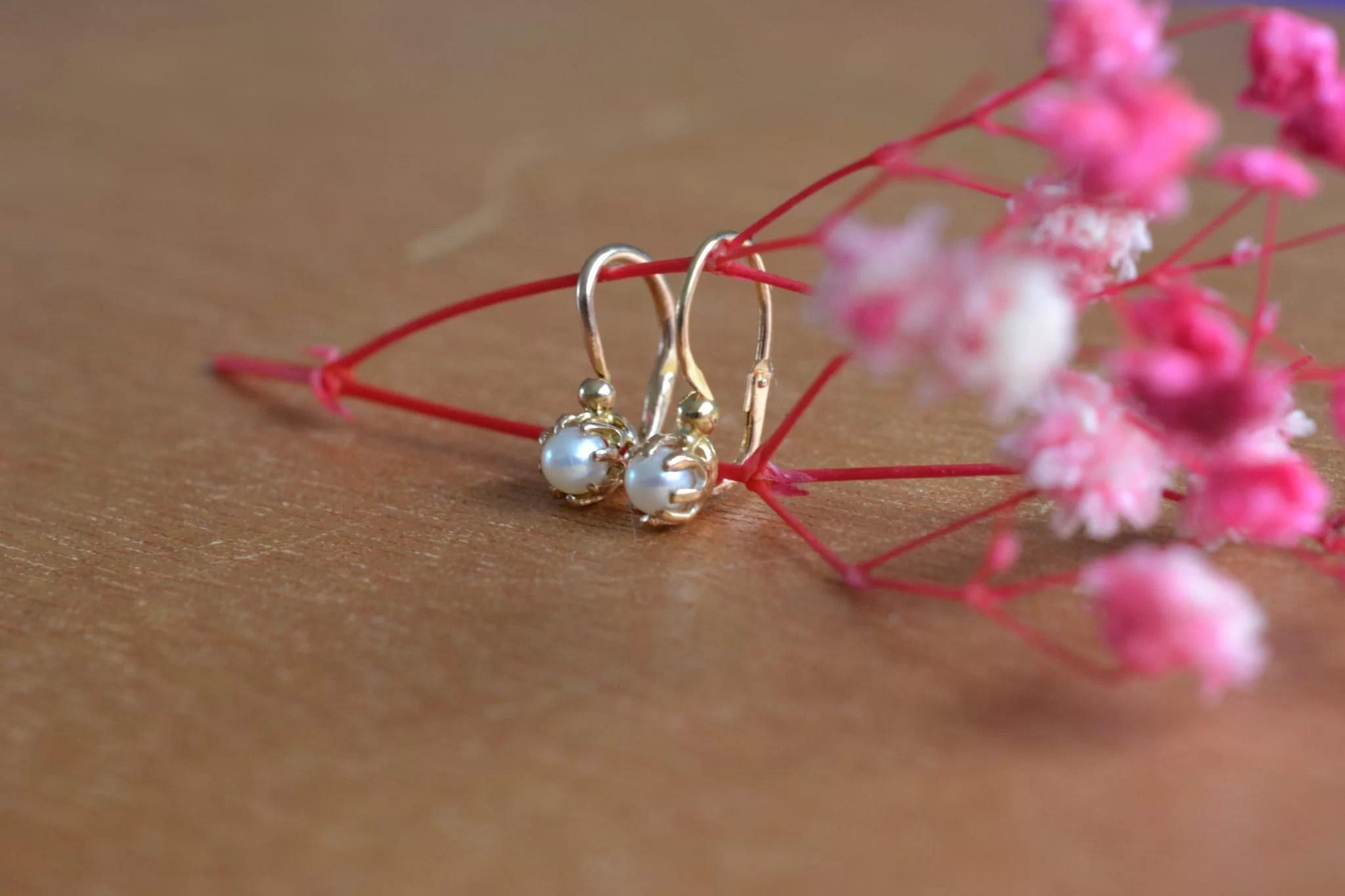 Boucles D'oreilles Dormeuses Anciennes Perles Et Or - Bijoux Anciens Pour Mariage Vintage