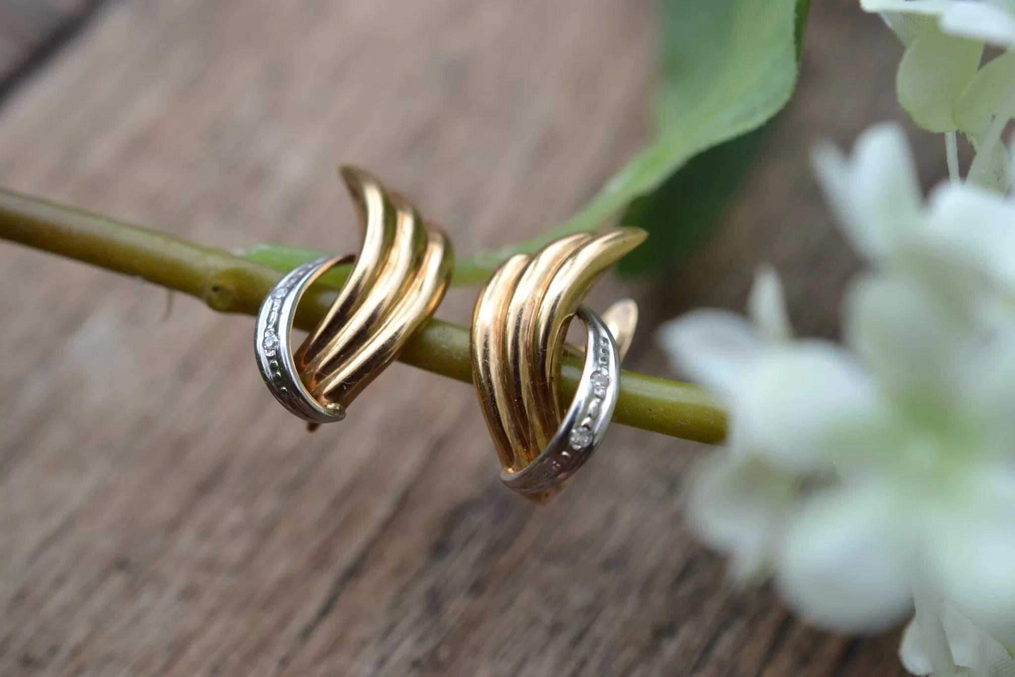 boucles d'oreilles anciennes en Or jaune et or blanc 18 carats - boucles d'oreilles pour mariage ethique