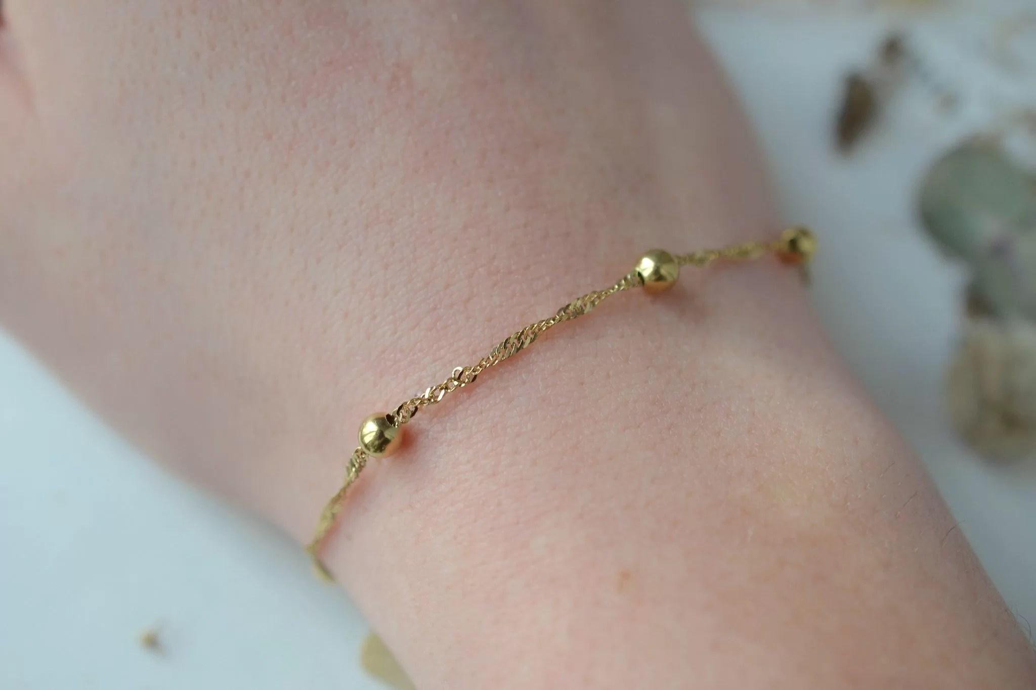 Bracelet en Or jaune décoré de billes, maille effet torsadé - bracelet éthique