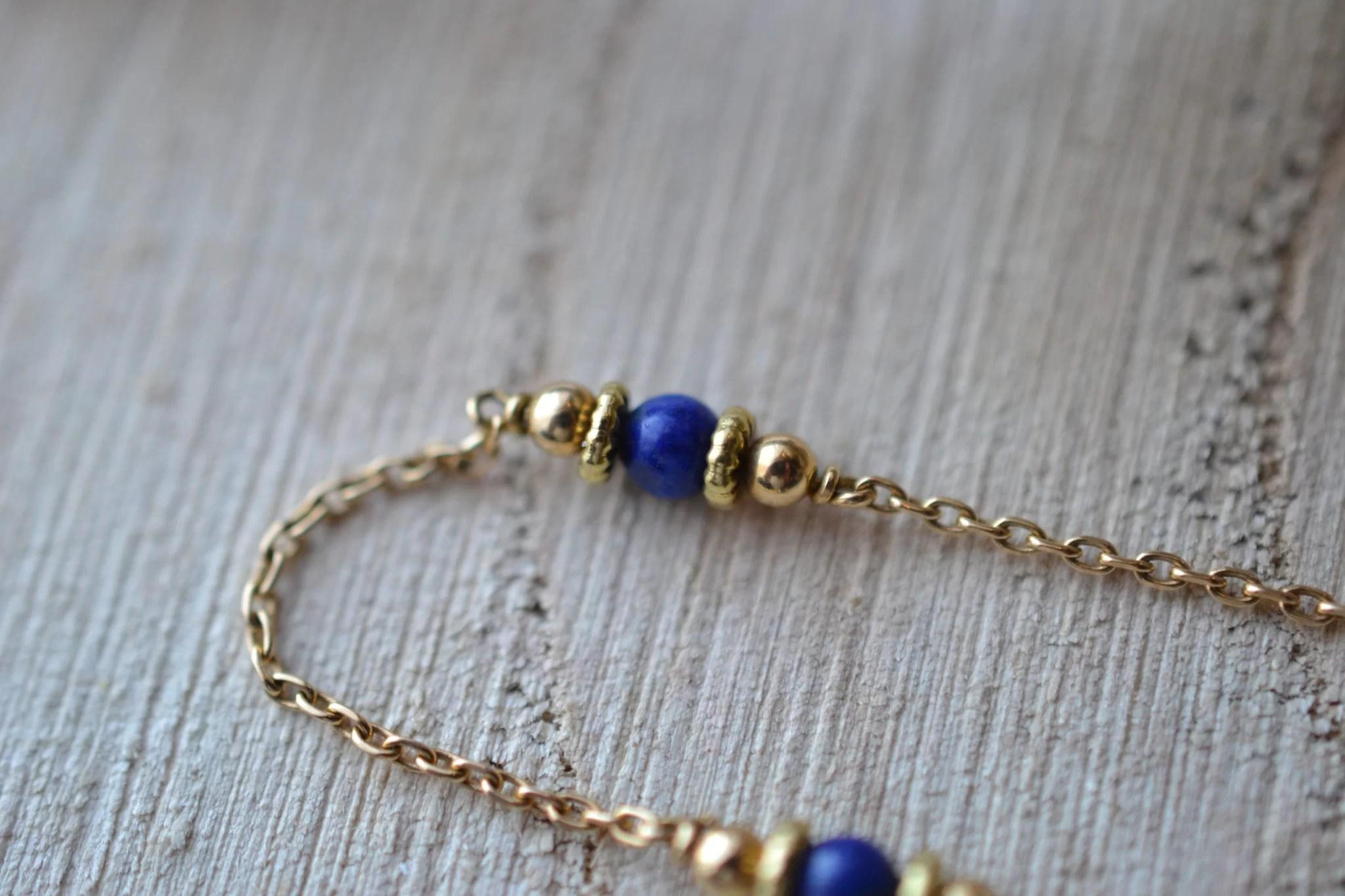 Bracelet En Or Jaune Habillé De 4 Lapis-lazulis - Bracelet Ancien