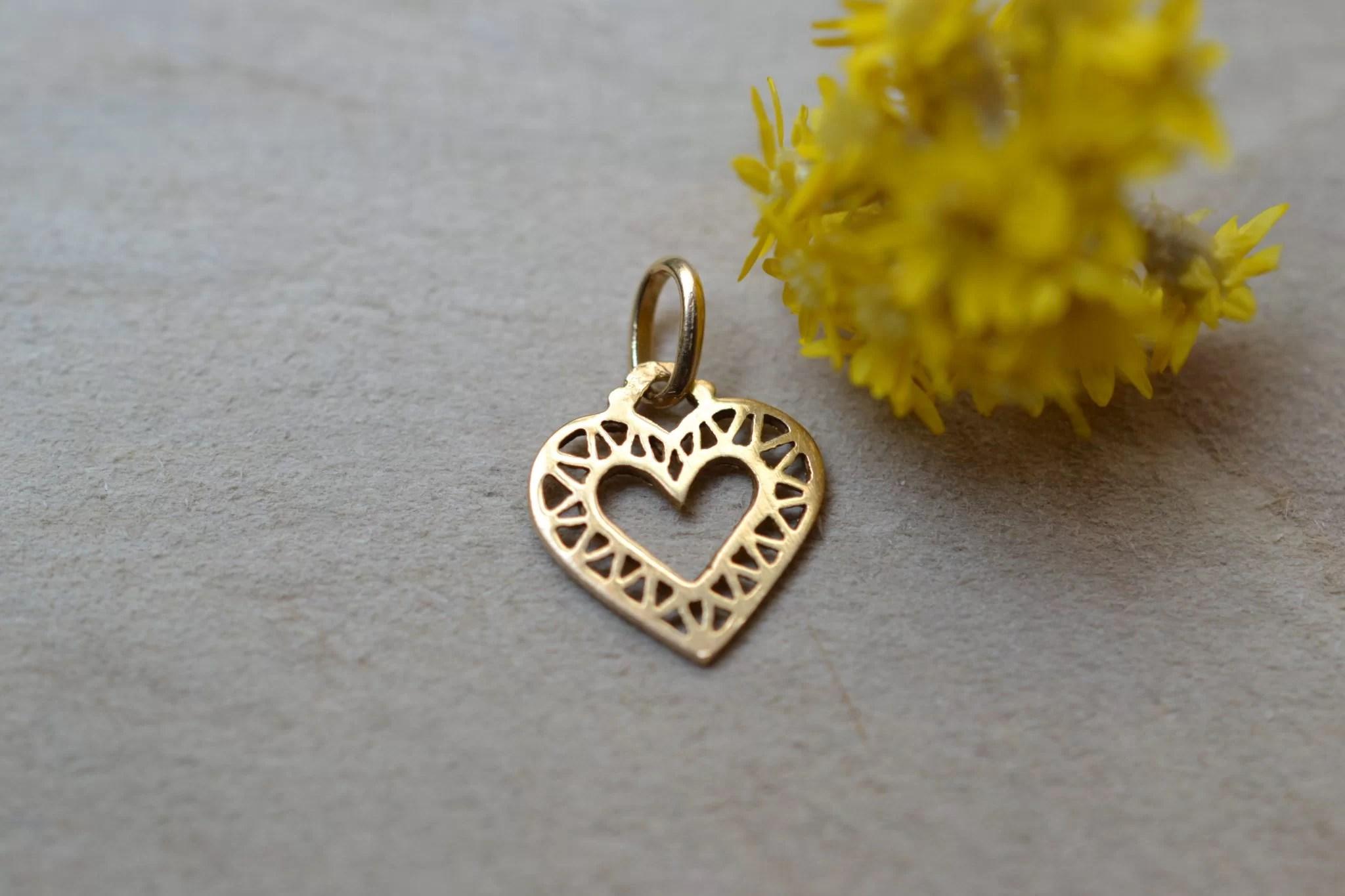 Pendentif cœur ajouré en Or jaune - pendentif ancien