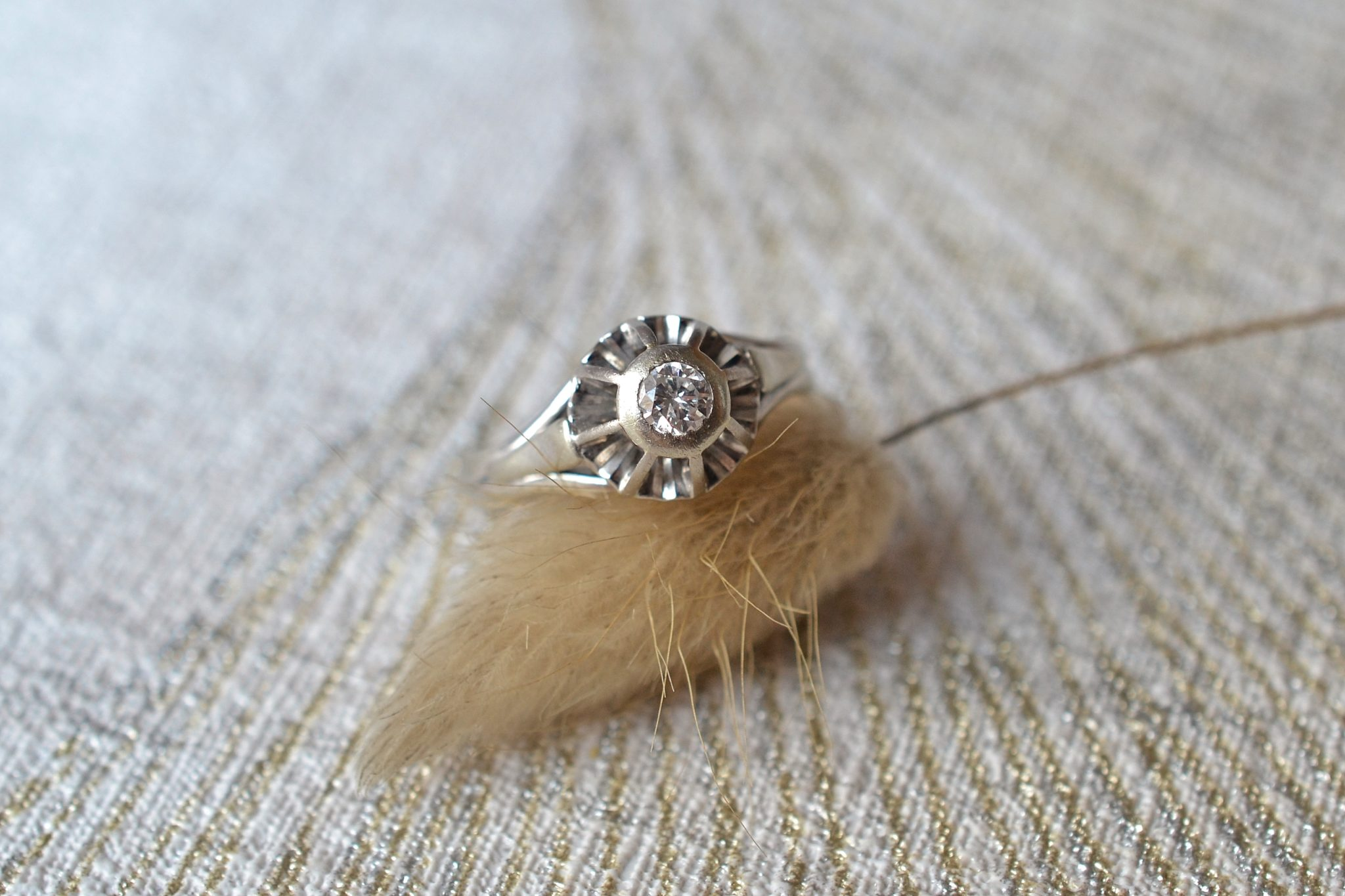 Bague Or Blanc Solitaire