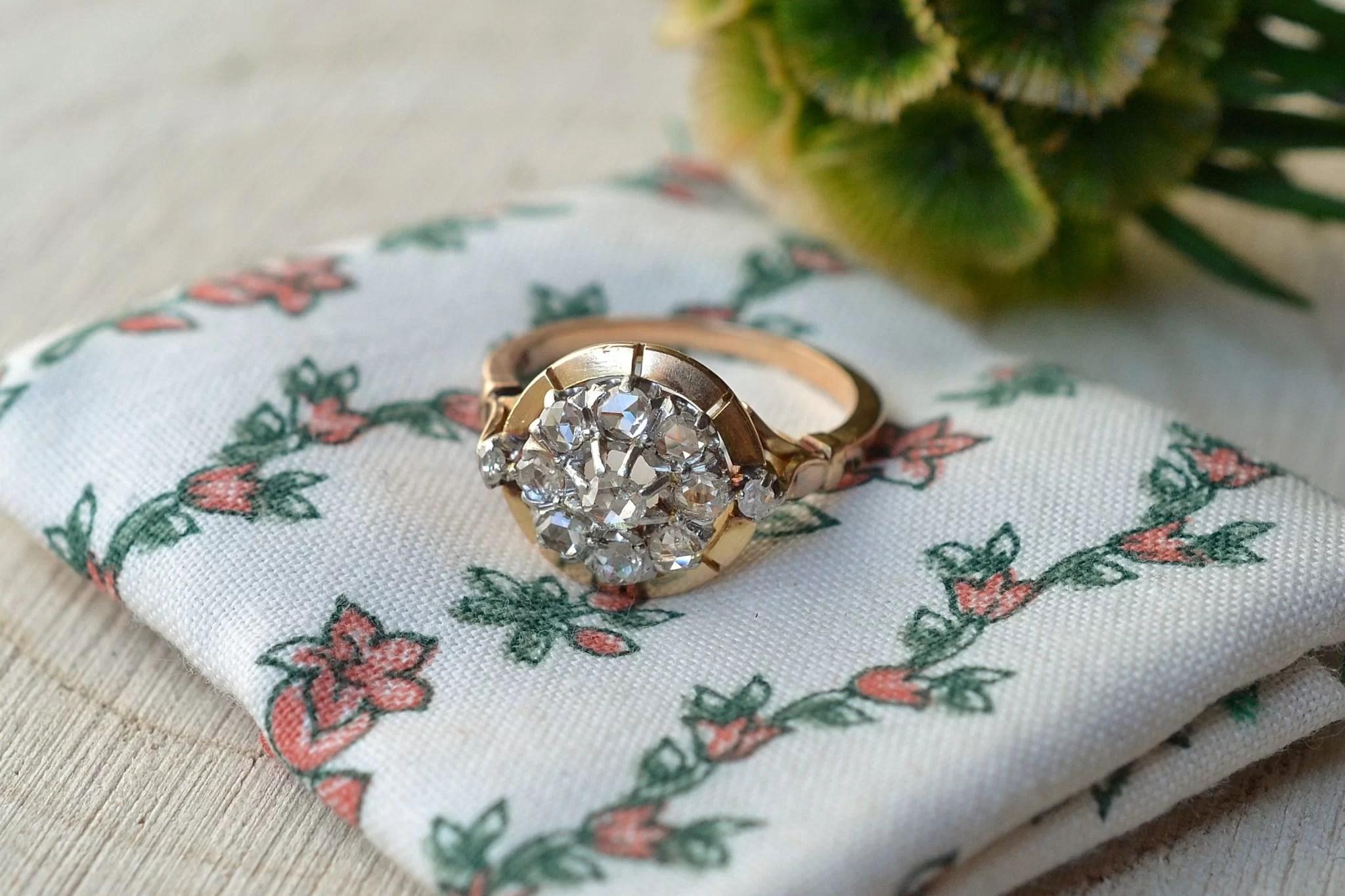 Bague en Or jaune enrichie de diamants - bague éthique et éco-responsable