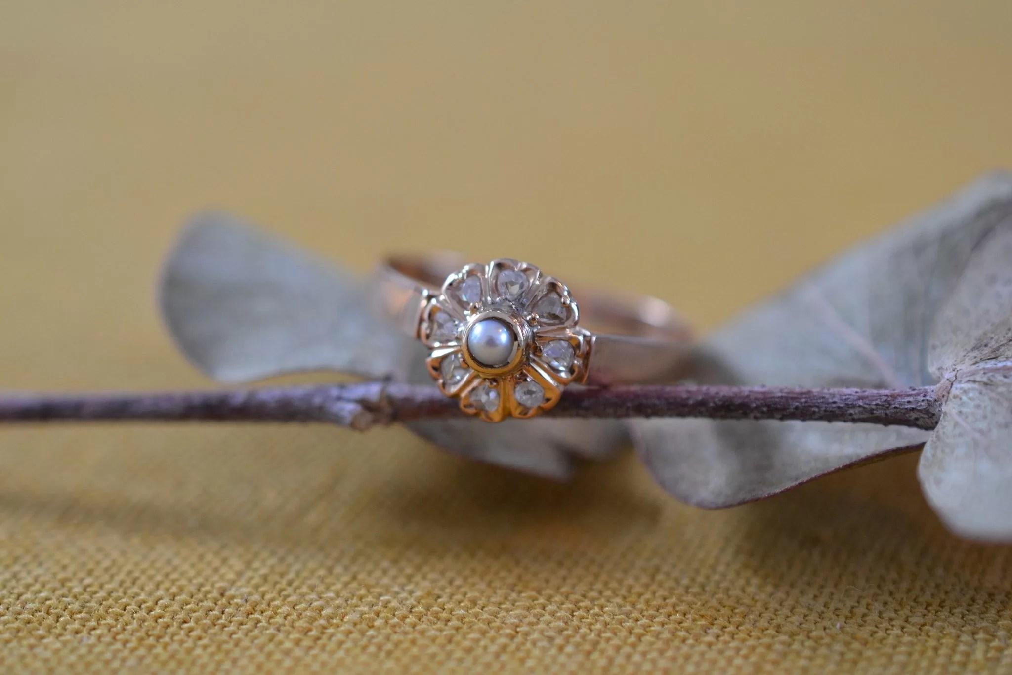 Bague Fleur Perle & Diamants