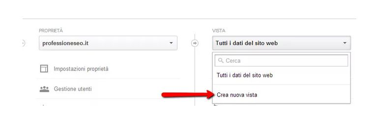 Google Analytics in sotto directory