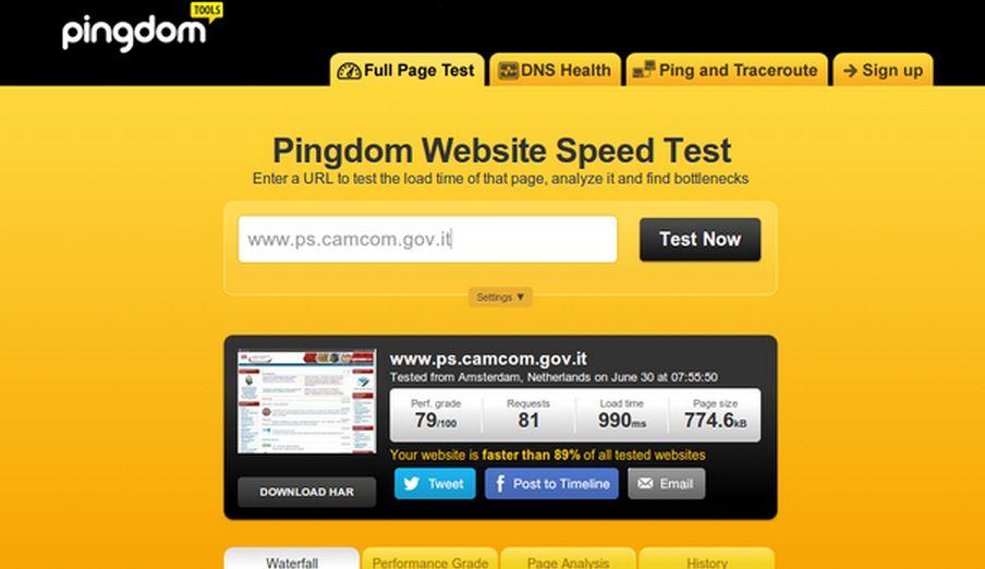 Ping Dom verifica la velocità del tuo sito