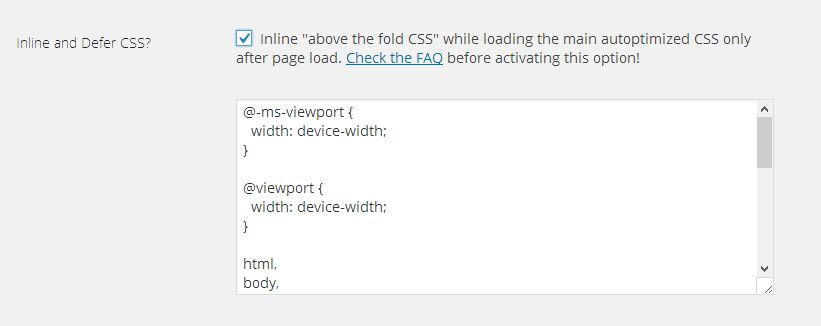 code in line css per il problema Above the Fold