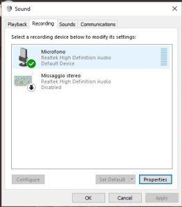 Dispositivo Audio Realtek in Windows 10