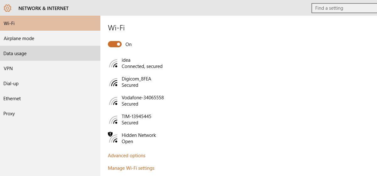 Windows Network internet