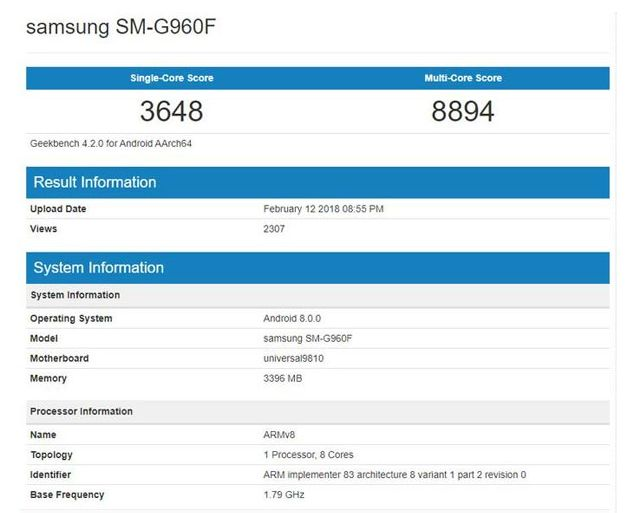 Test Benchmark samsung-s9-Exynos 9810