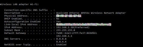 Otterenere il vostro Mac Address tramite l'utilizzo del comando dos ipconfig