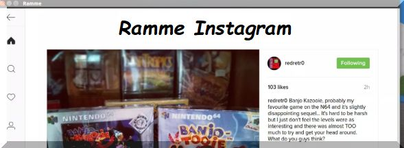Schermata esempio applicazione Ramme per pubblicare foto da PC Desktop su piattaforma social Instagram