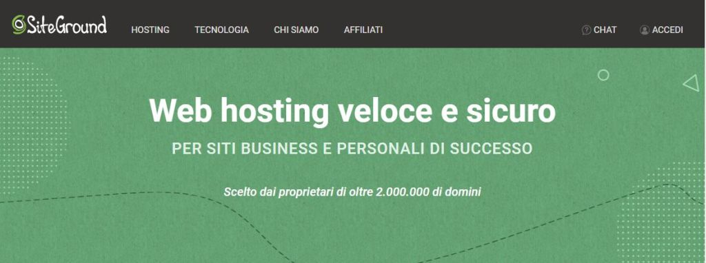 Hosting Share Siteground Schermata principale