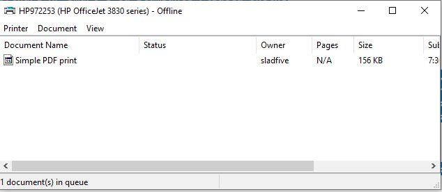 Stampante Canon Office Jet 8830 offline spooling Windows