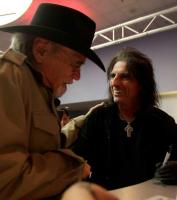 Duane Eddy meets Alice Cooper at Fender Booth NAMM. Photo from Fender Guitar Facebook