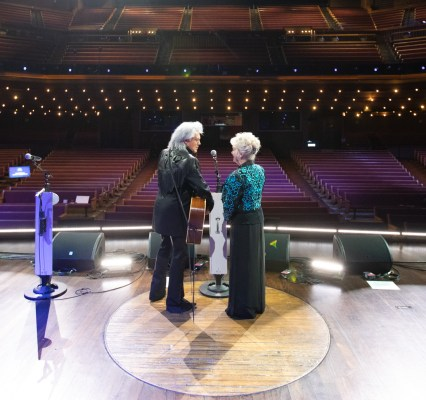 Marty Stuart and Connie Smith photographed on stage at the Grand Ole Opry moments after the live broadcast was finished Saturday, September 26, 2020. This marked the final performance before the 95th Anniversary of the Opry which saw the return of a socially distanced crowd of 500 people.