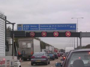 congested motorway traffic