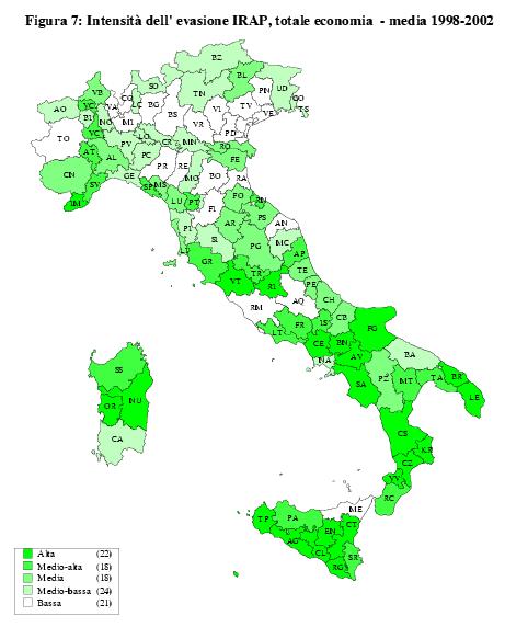 Evasione/dichiarato IRAP in Italia per provincia