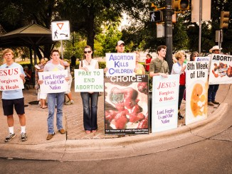 Anti-abortion protesters outside Texas state capitol