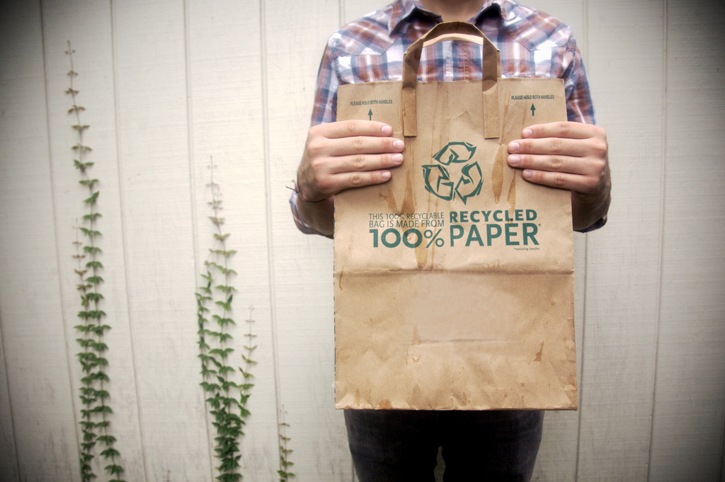 Millennials care about the environment. Recycle. Paper Brown Bag. 100% Recycled Paper.
