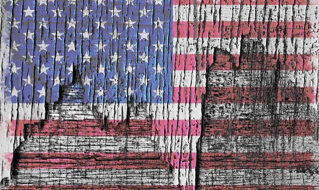 peeling american flag