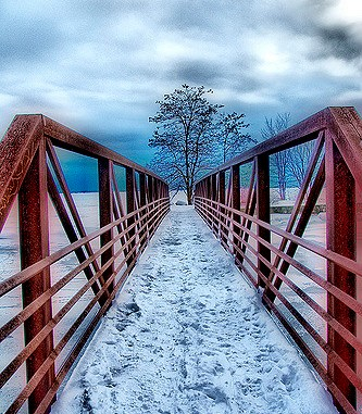 Red bridge snow by Liz