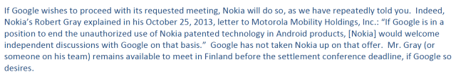 Nokia re. 13-10-25 letter to Motorola Mobility Holdings